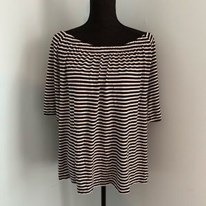 Talbots Off The Shoulder Black And White Striped